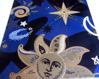 Vintage 1990s All Occasions Wrapping Paper Metallic Blue Gold Moon Stars Sun Gift Wrap