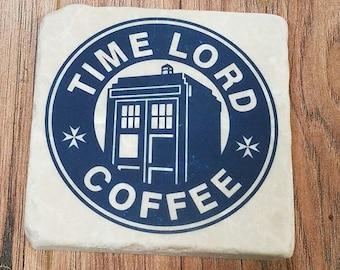 Time Lord Coffee Tumbled Stone Coaster