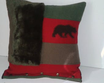silhouette cushion mountain fur and wool bear embroidered