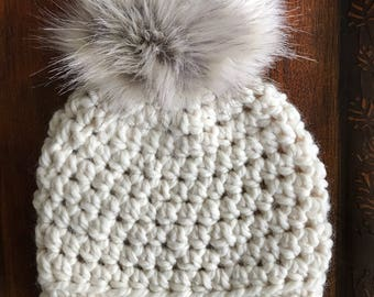 Snow Day Slightly Slouchy Women's Winter Hat • with luxe faux fur pom-pom