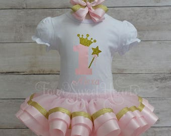 Princess Birthday Outfit, Girls Pink and Gold First Birthday, Pink and Gold Tutu Outfit, Girl Birthday Outfit, Pink and Gold Dress