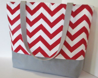 Chevron Tote Bag . Red White and Gray . standard size . Chevron Beach bag . great bridesmaid gift MONOGRAMMING Available