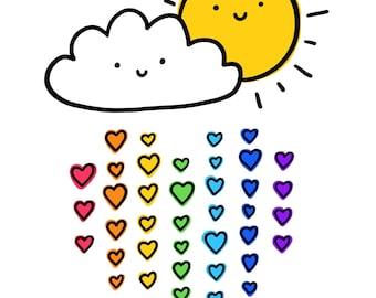 Romantic rainbow card.