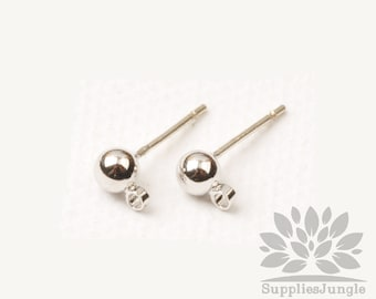 E349-R// Rhodium Plated Simple 4mm Solid Ball Earring Post, 4pcs