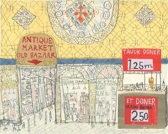 ISTANBUL PAINTING, Grand Bazaar Art, Original Mixed Media, Turkish Watercolor, Pencil Drawing Collage, Turkey Artwork Market Clare Caulfield