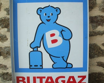 Vintage French Double-Sided advertising Butagaz Blue Bear Sign/Plaque