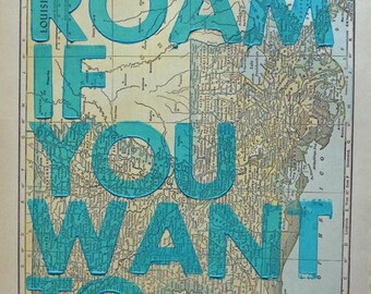 Louisiana / Roam if You Want To / Letterpress Print on Antique Atlas Page