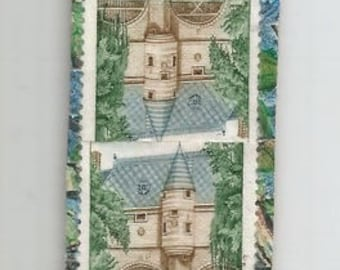Bookmarks made with post, New York s/Marne stamps and mosaic of Mariana