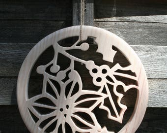 fretwork Christmas decoration natural wood