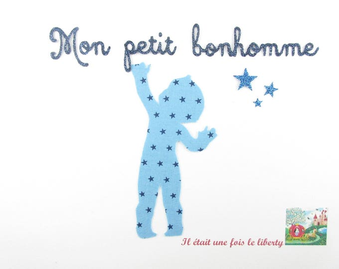 """Applied shape in your little boy """"Little man"""" in starry blue fabric with fabric glitter patch iron on fusible pattern"""