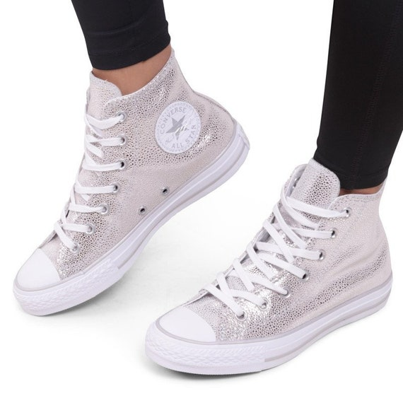 Silver Converse High Top Gray Stingray Grey Leather w/ Swarovski Crystal Rhinestone Bride Chuck Taylor All Star Wedding Bridal Sneakers Shoe