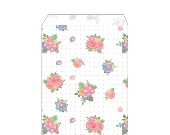 """CLEARANCE  From Heiko!  Small Floral Flat Paper Bags """"Abigail""""  No Gusset. Made in Japan  10 Bags"""
