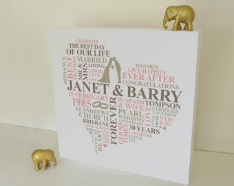 30 years Wedding Anniversary Canvas. Pearl Anniversary gift. Personalised Word Art. Unique anniversary gift. 30th year married.