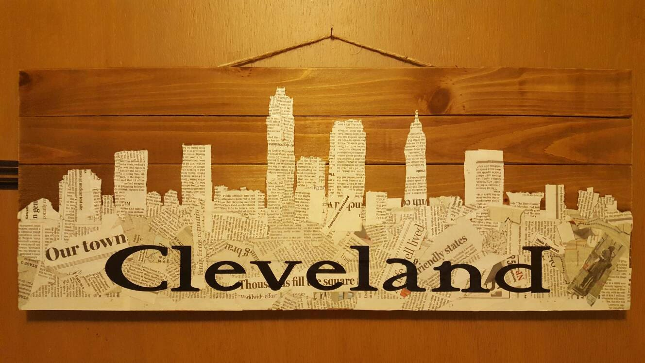 Cleveland Skyline Wood Wall Hanging