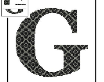 Monogram G Cross Stitch Pattern G Initial G Letter cross stitch Wedding Gift House Warming split letter cross Wedding Record Anniversary