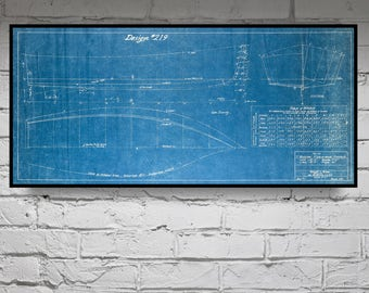 Blueprint etsy print of vintage v bottom boat blueprint from motor boatings build a boat series on malvernweather Image collections