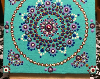"Detailed Mandala Art 4""x4""  canvas with stand"