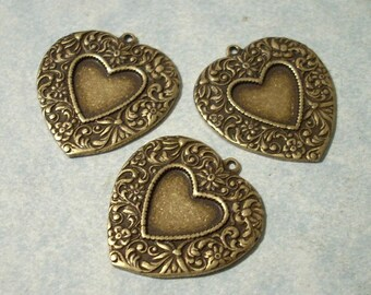 3 Victorian Heart Pendants, Floral Heart Pendants, Brass Hearts, Necklace Pendants - ( 25 percent discount on orders over 35 USD )