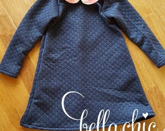 Girl quilted dress with peter pan collar and pockets