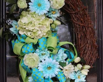 Hydrangea wreath, Spring wreaths for front door, Hydrangea door wreath, Farmhouse decor, grapevine wreath, Mother's Day gift, Spring wreath