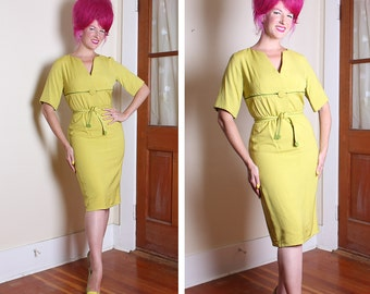 FABULOUS 1950's Designer Chartreuse w Lime Green Silk / Linen Hourglass Cocktail Dress w/ Tie Belt by I. Magnin & Co. - Mint - VLV - Size M