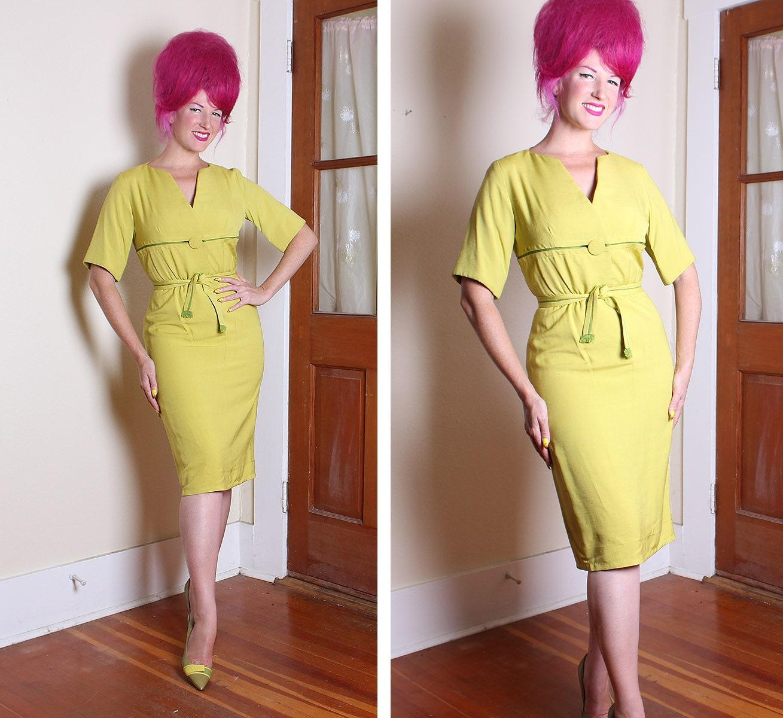 FABULOUS 1950's Designer Chartreuse w Lime Green Silk / Linen Hourglass Cocktail Dress w/ Tie Belt by I. Magnin & Co. - Mint - VLV - Size M