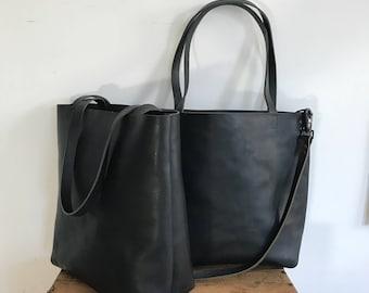 Black Leather Tote Bag - black leather bag - large black tote - sturdy Leather Travel Bag - Leather Market bag- Sale