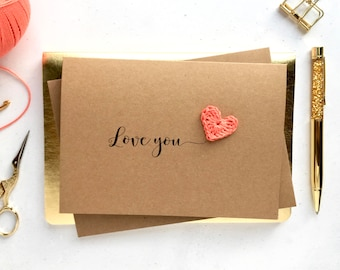 Love you card - Valentines day card - Be mine card - Happy Valentines day card - Card for wife  - anniversary card - Your own text card