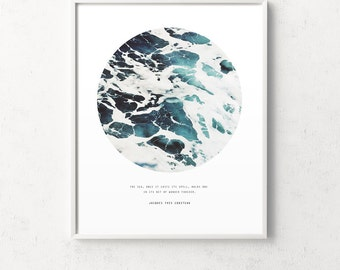 Ocean print, ocean photography, ocean wall art, sea poster, ocean poster, ocean wall print, ocean photo, blue ocean, circle photo ocean, sea
