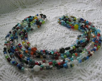 """V- Two """"double strung"""" Glass Mardi Gras beads from New Orleans-Carnival --Parade"""