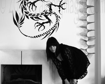 Serpent dragon silhouette wall decal, dragon vinyl wall decal, home décor, housewares, dragon wall art, dragon wall sticker, dragon décor