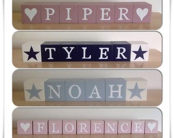Individual wooden letter blocks