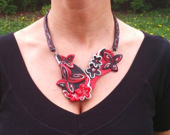 necklace - red and black butterflies