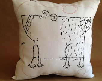 "Dog Accent Pillow - ""Buzzy Boy"""