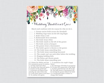 Floral Wedding Traditions Quiz - Printable Colorful Flower Bridal Shower Game - Why Do We Do That Quiz - Wedding Traditions Match 0002-B