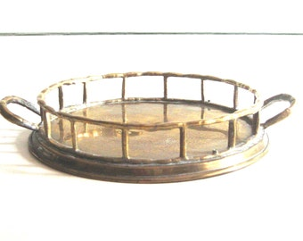 Brass Tray with Faux Bamboo Rail, Small Brass Tray,  Round Brass Tray