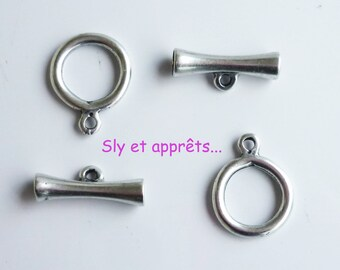 set of 2 silver plated toggle clasps (n ° 3)