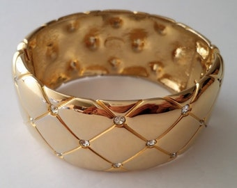 Joan Rivers Gold Plated Wide Bangle Bracelet