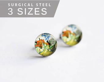 Van Gogh post earrings, Surgical steel stud,  Tiny earring studs, Art stud earrings, gift for her