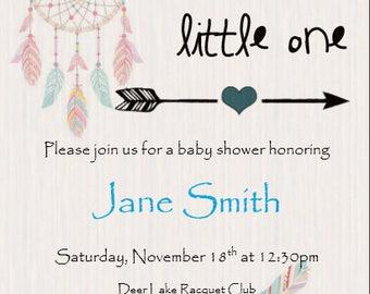 Dream Catcher Baby Shower 5x7 Invitation Download