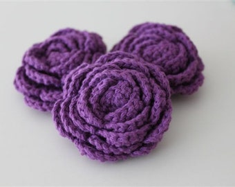 Lot of 3 Violet Crochet Flower Appliques - 3D Ruffled Rose Great for Amethyst Decor