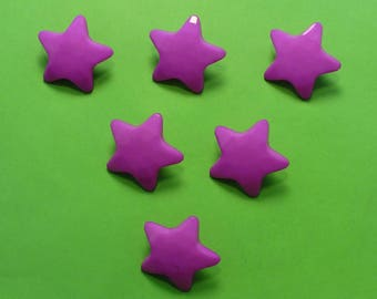 LOT 6 buttons: 22mm Purple Star