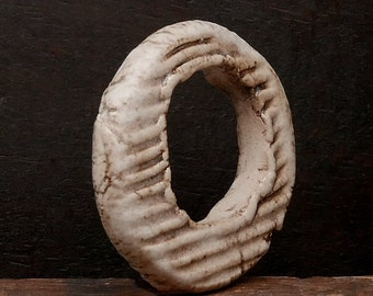 Stoneware Ceramic Ring Pendant Off White Handmade Pottery