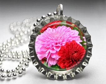 Floral Flower Bottlecap Pendant Necklace, Resin Pendant, Pendant Charm, Floral Jewelry Jewellery