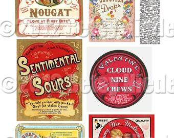 Vintage Victorian Retro Valentine Candy Label Digital Download Printable Image Collage Scrapbook Tag Sheet