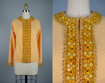 Vintage 1960s Yellow Beaded Sweater 60s Summer Squash Beaded Cardigan Size XL