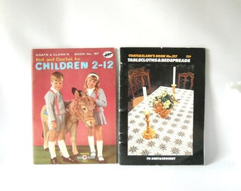 Vintage Craft Books Knitting Crochet Pattern Book Instructional Coats & Clark's How To Book 1960s 1970s Linens Chidrens Clothing