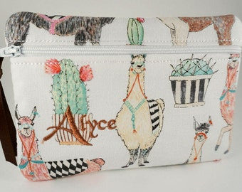 Llama Clutch Bag In The Fabric/Color You Want! Bridesmaid clutch, Monogrammed makeup bag, Make Up Bag, Cosmetic Bag, Personalized Bag