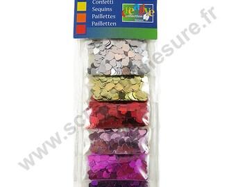 Glitter confetti - heart 6 colors - 5mm - 6 x 2g