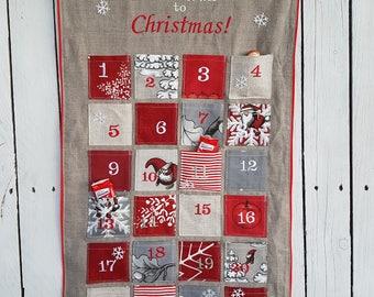 Advent calendar, countdown to christmas, vintage look advent calendar, fabric advent calendar